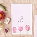 Asztalszám, rózsaszín,  tulipános, tavaszi, Esküvő, Képzőművészet, Esküvői dekoráció, Illusztráció, Egy oldalas nyomtatás : 100*150 mm   Ha betűtípust, vagy betűméretet, elrendezést vagy grafikát szer..., Meska