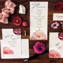 Esküvői dekoráció, ültető kártya, lila bazsarózsás, tavaszii, Esküvő, Képzőművészet, Esküvői dekoráció, Illusztráció, Igényes, sátras, két oladalas asztali ültetőkártya  Mérete összehajtva: kb: 70X40 mm Szerkeszési díj..., Meska