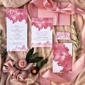 Esküvői dekoráció, ültető kártya, watercolor, akvarell, rózsaszín, barackszín , Esküvő, Képzőművészet, Esküvői dekoráció, Illusztráció, Igényes, sátras, két oladalas asztali ültetőkártya  Mérete összehajtva: kb: 70X40 mm Szerkeszési díj..., Meska