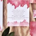 Esküvői meghívó, watercolor, akvarell, rózsaszín, barackszín, Esküvő, Képzőművészet, Esküvői dekoráció, Illusztráció, Meghívó CSOMAG: * Meghívó lap, egyoldalas nyomtatás: 105*148 mm  * Választható boríték : C6-os méret..., Meska