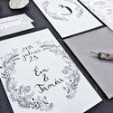 Esküvői meghívó, fekete, színezhető, egyedi kézzel készült mintával és nevekkel, Esküvő, Képzőművészet, Esküvői dekoráció, Illusztráció, Meghívó CSOMAG: * Meghívó lap, egyoldalas nyomtatás: 105*148 mm  * Választható boríték : C6-os méret..., Meska