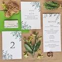 Esküvői dekoráció, ültető kártya, greenery, zöld, leveles, modern, Esküvő, Képzőművészet, Esküvői dekoráció, Illusztráció, Igényes, sátras, két oladalas asztali ültetőkártya  Mérete összehajtva: kb: 70X40 mm Szerkeszési díj..., Meska