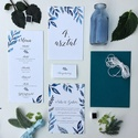 Asztalszám, kék, leveles, saját kézzel készült mintás, Esküvő, Képzőművészet, Esküvői dekoráció, Meghívó, ültetőkártya, köszönőajándék, Egy oldalas nyomtatás : 100*150 mm   Ha betűtípust, vagy betűméretet, elrendezést vagy grafikát szer..., Meska