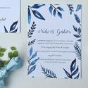 Esküvői meghívó, kék, leveles, saját kézzel készült mintás, Esküvő, Képzőművészet, Esküvői dekoráció, Meghívó, ültetőkártya, köszönőajándék, Meghívó CSOMAG: * Meghívó lap, kétoldalas nyomtatás: 105*148 mm  * Választható boríték : C6-os méret..., Meska