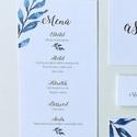 Menü kártya, kék, leveles, saját kézzel készült mintás, Esküvő, Képzőművészet, Esküvői dekoráció, Meghívó, ültetőkártya, köszönőajándék, Egy oldalas nyomtatás : 99x210 mm (egyharmad A4-es oldal)  Egyszeri szerkesztési díj: 1.000 Ft A ren..., Meska