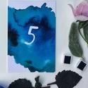 Asztalszám, kék, modern, watercolor mintás, saját kézzel készült mintás, Esküvő, Képzőművészet, Esküvői dekoráció, Meghívó, ültetőkártya, köszönőajándék, Egy oldalas nyomtatás : 100*150 mm   Ha betűtípust, vagy betűméretet, elrendezést vagy grafikát szer..., Meska