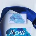 Ültető kártya, kék, modern, watercolor mintás, saját kézzel készült mintás, Esküvő, Képzőművészet, Esküvői dekoráció, Meghívó, ültetőkártya, köszönőajándék, Igényes, sátras, két oladalas asztali ültetőkártya  Mérete összehajtva: kb: 70X40 mm Szerkeszési díj..., Meska