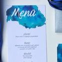 Menü, kék, modern, watercolor mintás, saját kézzel készült mintás, Esküvő, Képzőművészet, Esküvői dekoráció, Meghívó, ültetőkártya, köszönőajándék, Egy oldalas nyomtatás : 99x210 mm (egyharmad A4-es oldal)  Egyszeri szerkesztési díj: 1.000 Ft A ren..., Meska