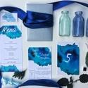 Esküvői meghívó, kék, modern, watercolor mintás, saját kézzel készült mintás, Esküvő, Képzőművészet, Esküvői dekoráció, Meghívó, ültetőkártya, köszönőajándék, Meghívó CSOMAG: * Meghívó lap, kétoldalas nyomtatás: 105*148 mm  * Választható boríték : C6-os méret..., Meska