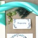 Esküvői dekoráció, kék leveles, egyedi kézzel festett minták alapján készült, Esküvő, Képzőművészet, Esküvői dekoráció, Meghívó, ültetőkártya, köszönőajándék, Igényes, sátras, két oladalas asztali ültetőkártya  Mérete összehajtva: kb: 70X40 mm Szerkeszési díj..., Meska