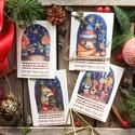 Karácsonyi képeslap, üdvözlőlap, süni, maci, pingvin, vörösbegy, mókus, nyuszi, mosómedve, bagoly mintával, Dekoráció, Karácsonyi, adventi apróságok, Ünnepi dekoráció, Ajándékkísérő, képeslap, Akvarell (watercolor) technikával készült egyedi mintás képeslapok, A csomagban 4 darab lap van, egy..., Meska