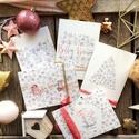 Karácsonyi képeslap, blush, watercolor, akvarell, hópihék, hópihés  képeslapcsomag