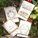 Karácsonyi képeslap, greenery, zöld leveles, koszorús, zöld design képeslapcsomag, Dekoráció, Karácsonyi, adventi apróságok, Ünnepi dekoráció, Ajándékkísérő, képeslap, Festészet, Festett tárgyak, Akvarell (watercolor) technikával készült egyedi mintás képeslapok, A csomagban 4 darab lap van. Mé..., Meska