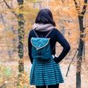 Fenyőzöld Leveles Mini Hátizsák, Táska, Baba-mama-gyerek, Hátizsák, Varrás, Pici aranyos leveles hátizsák felnőtteknek és gyerekeknek egyaránt kiváló.   A táskák külső rétegét..., Meska