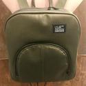 Hátizsák, Táska, Hátizsák, Műbőrből készült metálos méregzöld színű hátizsák, sötétkék vászon béléssel, állítható hosszú pamut ..., Meska