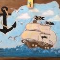 Hajós játéktároló kincsesláda, Bútor, Baba-mama-gyerek, Gyerekszoba, Tárolóeszköz - gyerekszobába, Famegmunkálás, 61cm széles,45cm magas, 38cm mély.Fenyőből készül, akrilfestékkel festve, lazúrral kezelve.Lakatzár..., Meska