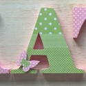 Betű-Kata style, Baba-mama-gyerek, Otthon, lakberendezés, Gyerekszoba, Baba falikép, Mindenmás, A feltüntetett ár 1db 12 cm magas betűre vonatkozik..,oldalai festettek, eleje dekorpapírral kasíro..., Meska