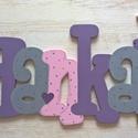 Név-Hanka style, Dekoráció, Baba-mama-gyerek, Gyerekszoba, Baba falikép, Festett tárgyak, 6mm vastag Mdf falapból készül, akrilfestékkel festve.Az ár , bármilyen 5 betűs névre érvényes, ha ..., Meska