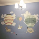 Falfestés ballonos cirkuszos, Baba-mama-gyerek, Dekoráció, Gyerekszoba, Baba falikép, Festészet, Falfestés egyedileg készített előzetes terv alapján. Színben, mintában a te elképzelésed alapján te..., Meska