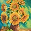 Napraforgók, Képzőművészet, Festmény, Olajfestmény, Olaj ,farost  50 X 70 Cm Imádjuk a napsütést mintha ez a kép nagyrészt sárga tónusaival is ezt a han..., Meska