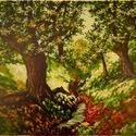 Erdő közepén, Képzőművészet, Festmény, Akril, Méret. 30 X 40 cm Anyag : Akril ,vászon Izgalmas a levelek közt beszűrődő fény .Ezért is festettem m..., Meska