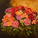 Rózsák, Képzőművészet, Festmény, Akril, Méret : 50 X 70 cm Anyag : Akril,vászon Nem akartam hagyományosan virág csendéletet festeni ezért el..., Meska