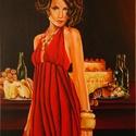 Díva, Képzőművészet, Festmény, Akril, Méret :29 X 39 cm Anyag :Akril ,kasírozott vászon Szívesen sütiznénk egy ilyen hölgy társaságában. ..., Meska
