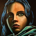 Lány kékben, Képzőművészet, Festmény, Akril, Festészet, Méret : 30 X 40 cm Anyag :Akril, papír Ennél a portrénál ami nekem személyesen tetszik a szemek kif..., Meska