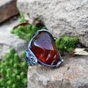 Szerencsekő - Borostyán gyűrű, Ékszer, óra, Gyűrű, Ékszerkészítés, Fémmegmunkálás, Tiffany technikával készült gyűrű.   Ásvány - Borostyán  Gyűrű belső átmérője kb. - 18-20 mm (állít..., Meska