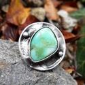 Aqua - Krizopráz gyűrű, Ékszer, óra, Gyűrű, Ékszerkészítés, Fémmegmunkálás, Tiffany technikával készült gyűrű.   Ásvány - Krizopráz  Gyűrű belső átmérője kb. - 18-20 mm (állít..., Meska