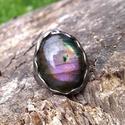 Labradorit gyűrű, Ékszer, Gyűrű, Tiffany technikával készült gyűrű.   Ásvány - Labradorit  Gyűrű belső átmérője kb. - 17..., Meska