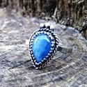 Ezüst Kianit gyűrű, Ékszer, Gyűrű, Kianit ezüstbe foglalva.   Ezüstékszereimet hagyományos ötvös technikával, keményforrasztással, kézz..., Meska