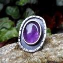 Ezüst Ametiszt gyűrű, Ékszer, Gyűrű, Ametiszt ezüstbe foglalva.   Ezüstékszereimet hagyományos ötvös technikával, keményforrasztással, ké..., Meska
