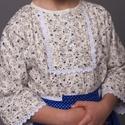 Viseleti blúz, Ruha, divat, cipő, Gyerekruha, Gyerek (4-10 év), Varrás, Gombos nyakú viseleti blúz ,néptánc blúz   Apró kékvirágos  A képen látható termék 122-128-as méret..., Meska