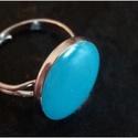 Türkiz gyűrű, Ékszer, óra, Gyűrű, Állítható méretű türkiz gyűrű, Meska