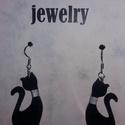 Nyakörves cica fülbevaló, Ékszer, óra, Fülbevaló, Ékszerkészítés, Fekete cica fülbevaló, Meska