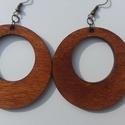 Kerek fa fülbevaló, Mindenmás, Ékszer, Fülbevaló, Kör alakú kezelt fa fülbevaló.  5cm x 5cmm, Meska