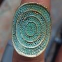 Türkiz gyűrű, Ékszer, óra, Mindenmás, Gyűrű, Ékszerkészítés, Türkiz -arany színű gyűrű Mérete állítható, Meska