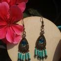 Kék - bronz fülbevaló, Ékszer, óra, Mindenmás, Fülbevaló, Ékszerkészítés, Kék bronz fülbevalo gyöngyökkel 5cm , Meska