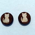 Aranyos cica fülbevaló, Ékszer, óra, Fülbevaló, Fehérarany - barna színű fa cicás fülbevaló 1,1cm  , Meska