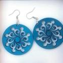 Kék, mintás fülbevaló, Ékszer, óra, Fülbevaló, Kék, mintás fa fülbevaló 4cm, Meska