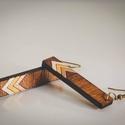 Fehér-Arany-Bronz fa fülbevaló, Ékszer, Esküvő, Fülbevaló,  fa fülbevaló 1cm x 5cm , Meska