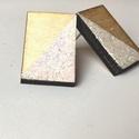 Fehér négyzet alakú fülbevaló, Ékszer, Fülbevaló, Fehér Csillámos négyzet alakú egyedi fülbevaló fából 1,2 x 2cm , Meska