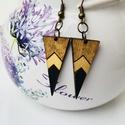 Barna Arany Fekete fülbevaló, Ékszer, Fülbevaló, Barna Arany Fekete háromszög alakú fa fülbevaló Nikkelmentes 1,3 x 3cm, Meska