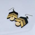 Fekete-sötét arany-arany fa fülbevaló, Ékszer, Fülbevaló, Fekete arany  fa fülbevaló Nikkelmentes akasztóval 2,5x3,5 cm, Meska