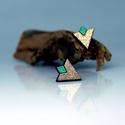 Pezsgő-Arany türkiz fülbevaló, Ékszer, Esküvő, Fülbevaló, Arany türkiz fülbevaló 1,5 x 1,2 cm fa, Meska