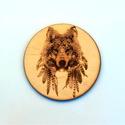Poháralátét farkas mintával, Otthon, lakberendezés, Dekoráció, Poháralátét farkas mintával 10cm gravírozott , kezelt fa 6db-os , Meska