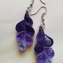 lila quiling fülbevaló, Ékszer, óra, Fülbevaló, Ékszerkészítés, Nikkelmentes fülbevaló alkatrészből, lila színárnyalataiból készült fülbevaló.mérete: 6 cm. , Meska