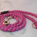 Pink- mályva póráz, Állatfelszerelések, Kutyafelszerelés, Divatos, vidám, egyedi póráz kutyusodnak!  A pórázt strapabíró kötélből készítettem, pin..., Meska