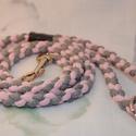 Rózsaszín-ezüstszürke póráz, Állatfelszerelések, Kutyafelszerelés, Divatos, vidám, egyedi póráz kutyusodnak!  A pórázt strapabíró kötélből készítettem, ró..., Meska